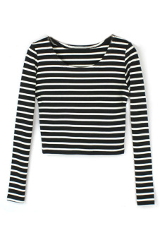 9313c0019a Toprank Summer Sexy Women Boat Neck Crop Striped Long Sleeve Slim Blouse  Tops T-Shirt