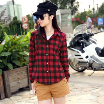 Toprank Women Casual Turn Down Collar Long Sleeve Plaids Checks Button Down Shirt Tops (Black) (Intl) - Intl