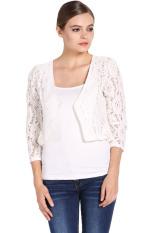 Toprank Women Lace Coat Hollow Out Jacket Women Long Sleeve Slim Outwear (White) (Intl)