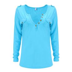 Toprank Women Sexy V-Neck Tops Long Sleeve T-Shirt Casual Blouse (Blue) - Intl