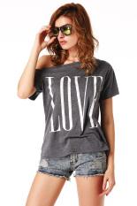 Toprank Women's T-Shirts Summer Women Fashion Tops Letter Print Slim Casual Shirts Female Tops Tee (Grey)