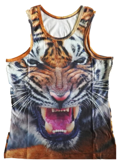 TOSHOON RED Men's Fashion Summer 3D Tiger Print Gym Basketball Sleeveless Breathable Vest Tanks Tops (Multicolor) (Intl)