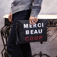 TP 2017 New Korean Handbag Casual Graffiti Clutch Wrist Bag Messengerbag Crossbody Bag Clutch For Men (Black) - Intl