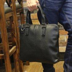 TP Men's Leather Handbags Briefcase Business Casual Men's Portable Baglitchi Grain Bag (Black) - Intl