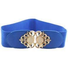 TP Opal Type Fashion Joker Elastic Waist Band Metal Flower Cummerbundwide Belt Lady's Girdle (Blue) - Intl