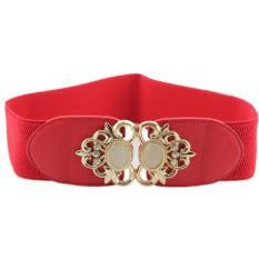 TP Opal Type Fashion Joker Elastic Waist Band Metal Flower Cummerbundwide Belt Lady's Girdle (Red) - Intl