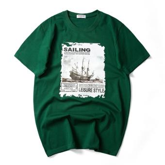 ... Tren musim panas pria lengan pendek t shirt kemeja kecil Ras Ling hijau gelap