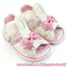TrendiShoes Sandal Bunyi Anak Perempuan Pita - Putih