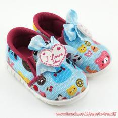 TrendiShoes Sepatu Bunyi Slip On I Love You Motif Cute - Blue