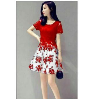 Twin Collection Dress Flower red