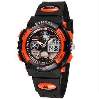 Twinklenorth Men Orange Waterproof Noctiluc Plastic Causal Analog Digital Watch Watches Wristwatches 99266-3