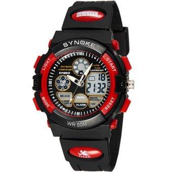 Twinklenorth Men Red Waterproof Noctiluc Plastic Causal Analog Digital Watch Watches Wristwatches 99266-4
