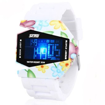 Twinklenorth Men White Floral Military Nato Noctiluc Silicone Plastic Digital Watch Watches K987Q-12