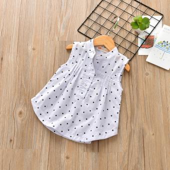 harga Bayi Tx-5855 Gaya Korea Dari Wanita Baru Gadis Tanpa Lengan Kemeja Pencetakan Rompi (Putih dot) Lazada.co.id