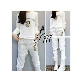 UC Setelan Horse/ Baju Setelan Wanita / Baju Setelan Month White/ Baju Stelan Modern