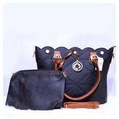 Ultimate Tas Wanita 2in1 / Top-Handle Bag / Tas Branded Wanita High Quality Korean / Tas Fashion Korean Elegant Bag Style 1732 - Black