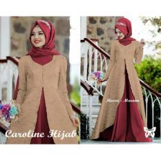 UNICELLSHOP 3 3 Kebaya Cantika / Gamis Wanita Muslim / Hijab Caroline / Set Baju Muslim 3 in 1 - Mocca