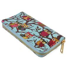 Unique Design Canvas Owl Printing Women Wallet Zipper Handbag Lady Clutch Bag (Blue) - Intl - Intl