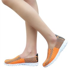 Unisex Fashion Casual Lovers Breathable Sneaker Shoes Woven Leisure Shoes For Running (Orange, 38)