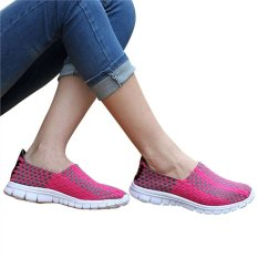 Unisex Fashion Casual Lovers Breathable Sneaker Shoes Woven Leisure Shoes For Running (Rosy, 35)