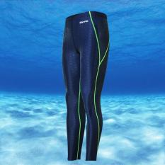 Unisex Imitation Sharkskin Neoprene Wetsuit Swim Snorkeling Diving Trousers(Blue&Green line) - intl