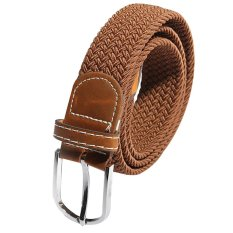Unisex Men Women Stretch Braided Elastic Leather Buckle Belt Waistband Brown (Intl)