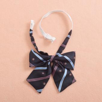 Unisex Men's Retro British Style Fashion Classic Bowtie Bow Tie Dark Blue - Intl