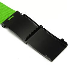Unisex Plain Webbing Men Women Waist Waistband Casual Canvas Strap Belt Buckle Green - Intl