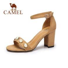 Unta Wanita Sandal Suede Kenyamanan Tinggi Tumit Shoes(apricot) - Intl