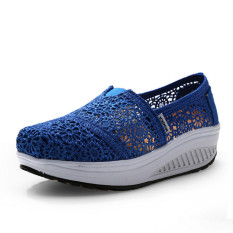 UShoes U100518 Women Fahion Wedge Sneakers Shoes 2015 Women Wedge Platform Sport Shoes (Blue) (Intl)