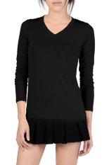 V-Neck Fitted Plain T-Shirt (Black)
