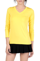 V-Neck Fitted Plain T-Shirt (Yellow)