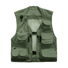 Valianto Men's Mesh Fishing Vest Photography Work Multi Pockets Outdoors Vests Large Army Green