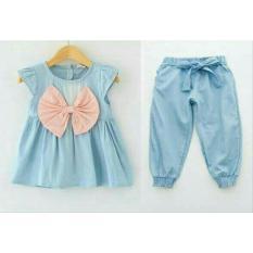 vallerie - atasan + celana denim pita pink bahan katun denim fit utk anak umur 2-3thn tergantung postur tubuh anak
