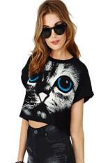 NEW Women Summer Short Sleeve O Neck Casual Crop Top Short T-shirt Blouse (Black)