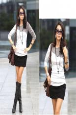 Stylish European Style Lady Women's Long Sleeve Splicing Tops Blouse T-shirt