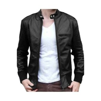 VC Jaket Kulit Strip Hitam Series Full Black Exclusive
