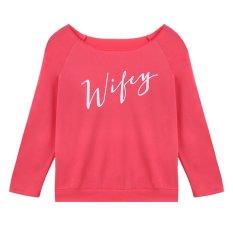 Velishy Trendy Wify Letters Printed Bottom T-Shirt Slim Tops Long Sleeve Pink