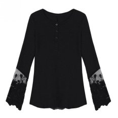 Velishy Womens T Shirt Lace Long Sleeve Backless (Black) - INTL
