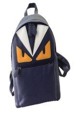 VENDOOR Women's Owl Leather Backpack Punk Rock Rucksack Travel Bag School Book Bags (Blue)