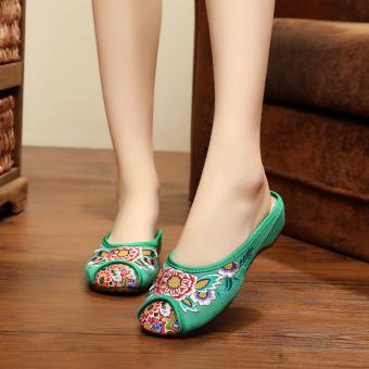 Veowalk Floral Embroidered Women's Casual Canvas Flat Slides Slippers Fashion Ladies Outdoor Cotton Sandals Shoes Green