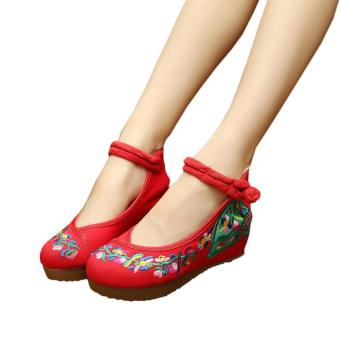 Veowalk Flower Vines Embroidered Asian Women Casual Canvas 5cm Heels Wedges Platforms Ladies Denim Cotton Jeans Pump Shoes Red - intl