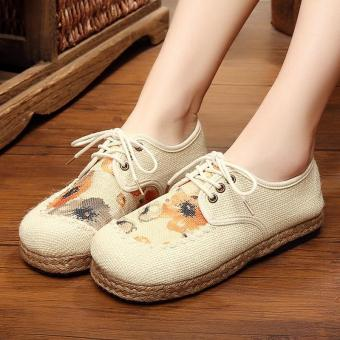 Veowalk Women Casual Linen Cotton Flat Loafers Shoes Handmade Flower Embroidered Low Top Lace up Plaforms