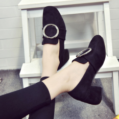 Versatile New style square head thick with high-heeled shoes (Hitam)