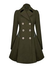 Versatile Notched Lapel Double Breasted Trench Coats Army Green (Intl)