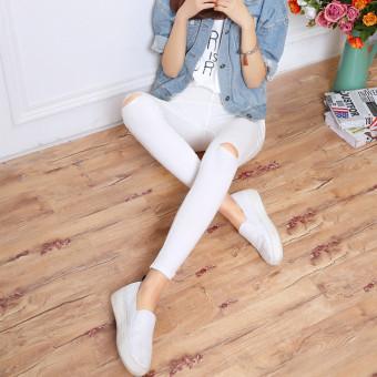 Versi Korea dari hitam kaki sembilan poin celana celana bottoming celana ( Putih [lutut lubang