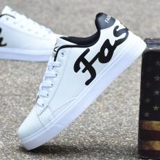 Versi Korea dari remaja kulit hitam renda sepatu pria sepatu (Putih)