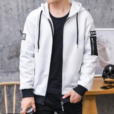 Versi Korea dari siswa baru remaja jaket pria sweater (Putih)