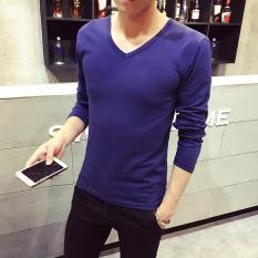 Versi Korea dari warna solid musim semi baru t-shirt (Angkatan laut biru v-neck lengan panjang)