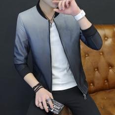Versi Korea dari warna solid pria remaja jaket (Abu-abu)